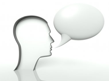 Face profile and speech bubble on white background, text space