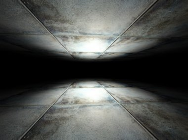 Floor and ceiling made of grunge tiles background texture