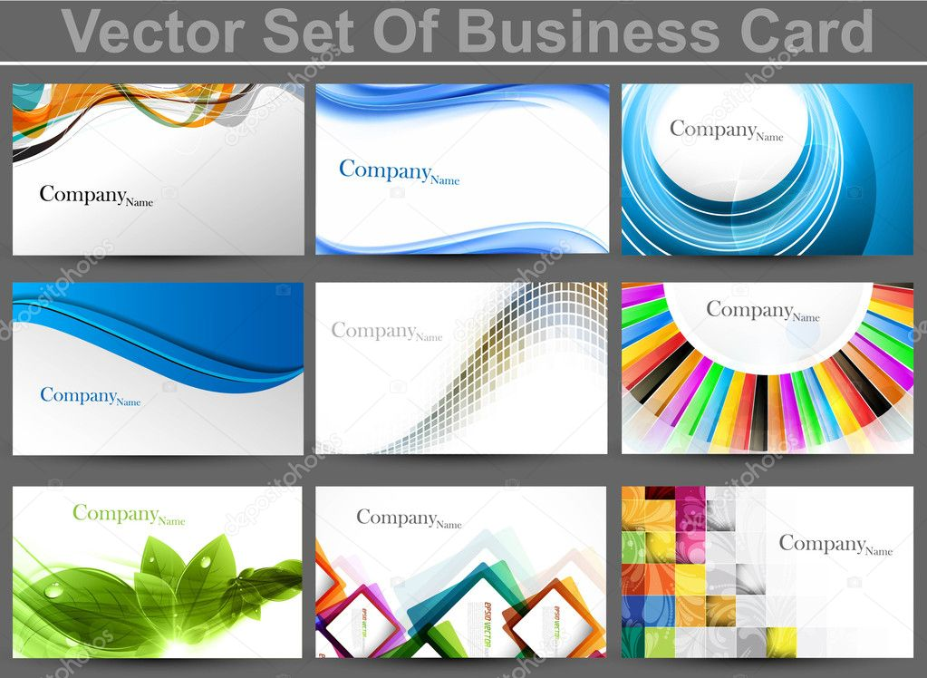 Abstract set of 9 business card templates vector