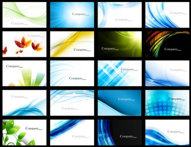 Abstract set of 20 business card templates vector