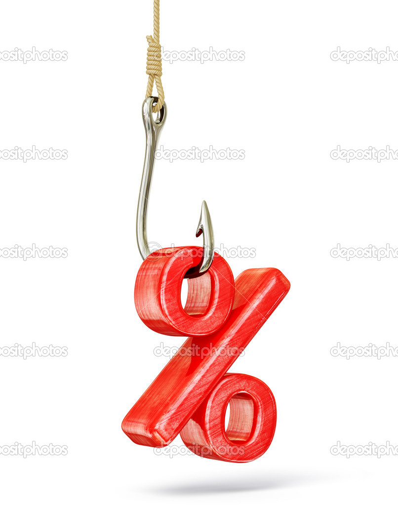 Percent hook isolated on a white background