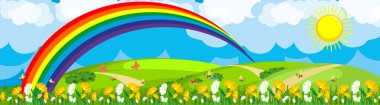 Rainbow over the flower field