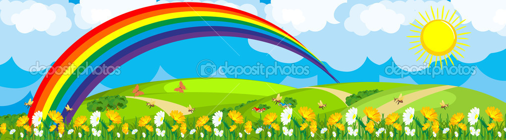 Rainbow over the flower field
