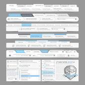 Webové stránky design menu navigační prvky s řádky nabídek sada: navigační ikony