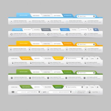 Web site design menu navigation elements with icons set:Navigation menu bars