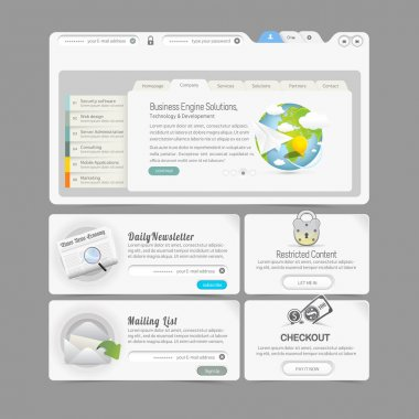 Website design template menu elements with icons set: Image slider