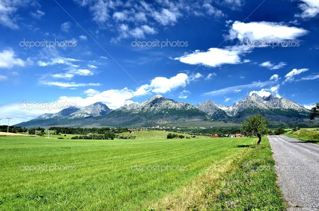 View of mountain peaks in summer time in High Tatras