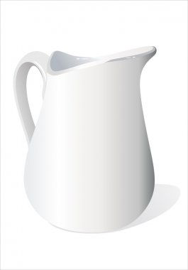 Nice white ceramic milk jug. Isolated with clipping path