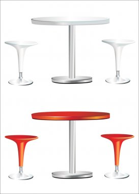 Modern bar table with two chairs on white background