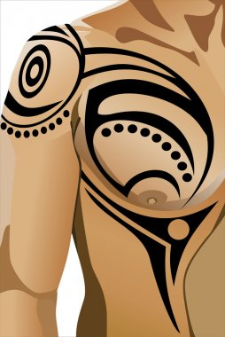 Tribal tattoo on male shoulder