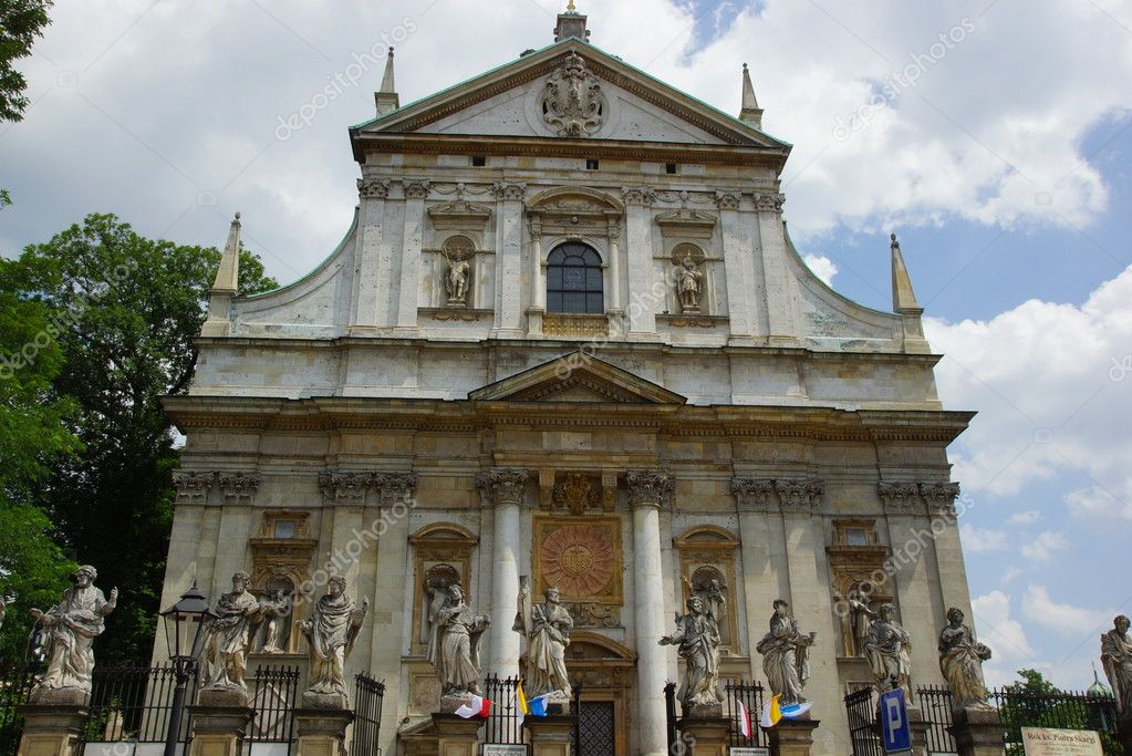 Facade of baroque Church of St Peter and St Paul in Krakow ...