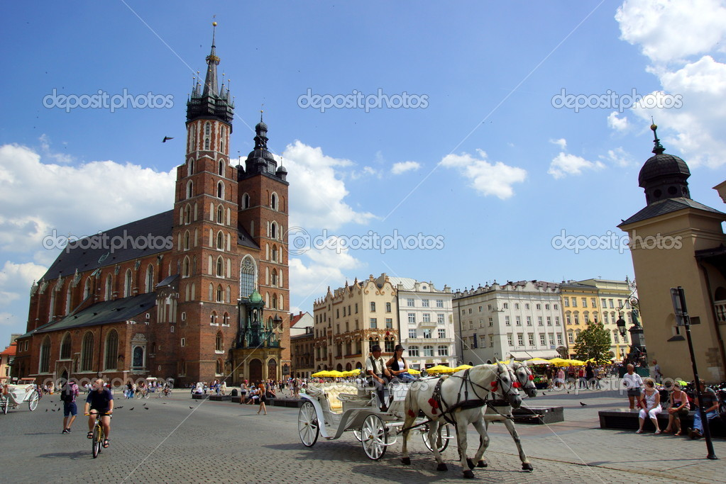 St Mary's Church,Kosciol Mariacki, at the main Market Square in Cracow, Poland