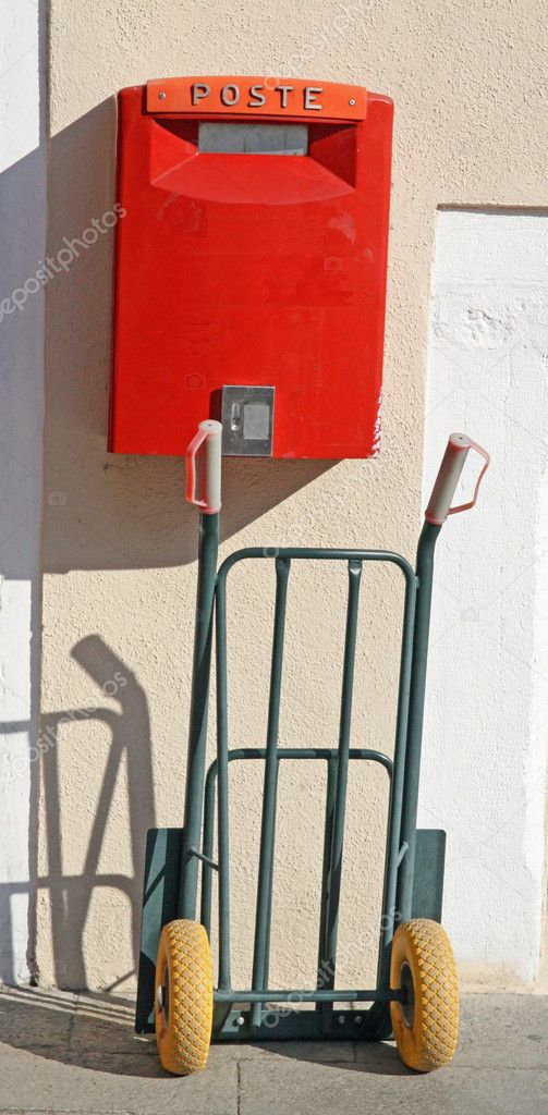 Italian mail letter box with trolley