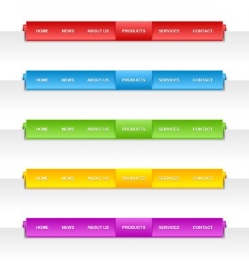 Colorful folded paper navigation menu