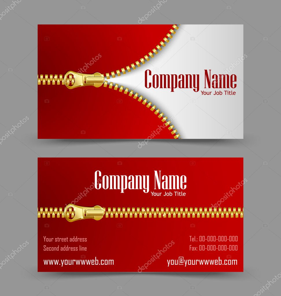 Zipper theme business card — Stock Vector © PKIllustrations #12373822