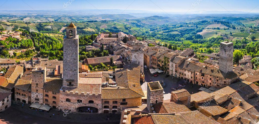 San Gimignano roof panorama, Tuscany, Italy