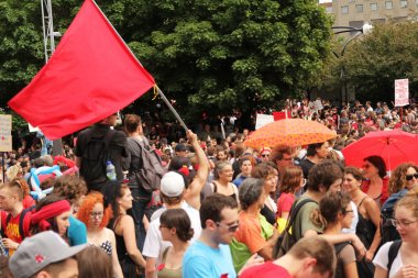 Red flag in a demonstration in Montreal street