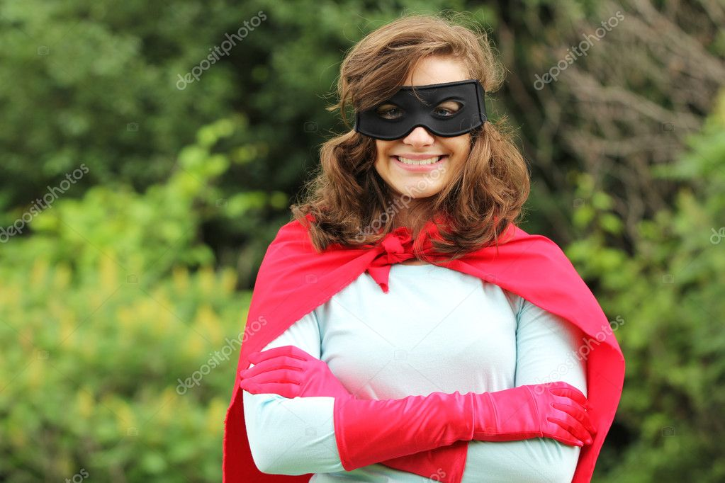 Smiling super hero girl