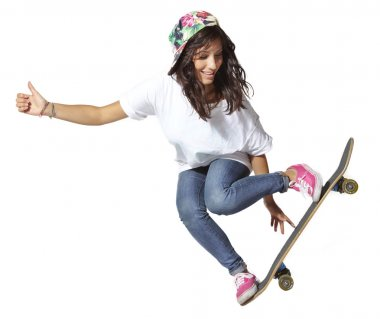 Skateboarder woman jumping isolated on white showing thumbs up