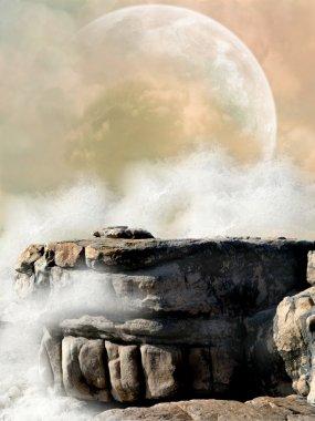 "Картина, постер, плакат, фотообои ""фантастический ландшафт 3d белые цветы море фрески"", артикул 11773675"
