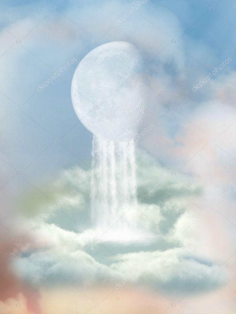 Moon with waterfall