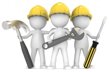 3D little human character The Builders X3 with Tools. series. stock vector