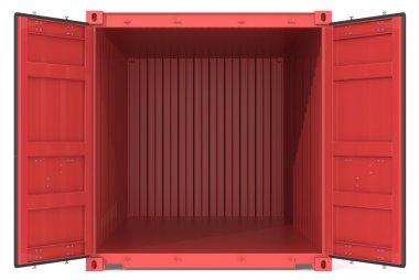 Red Cargo Container. Open Doors. Front view. stock vector