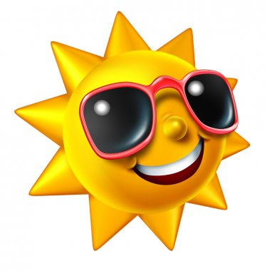 Smiling summer sun character with sunglasses as a happy ball of glowing hot seasonal fun and a symbol of vacation and relaxation under with sunny weather isolated on white. stock vector