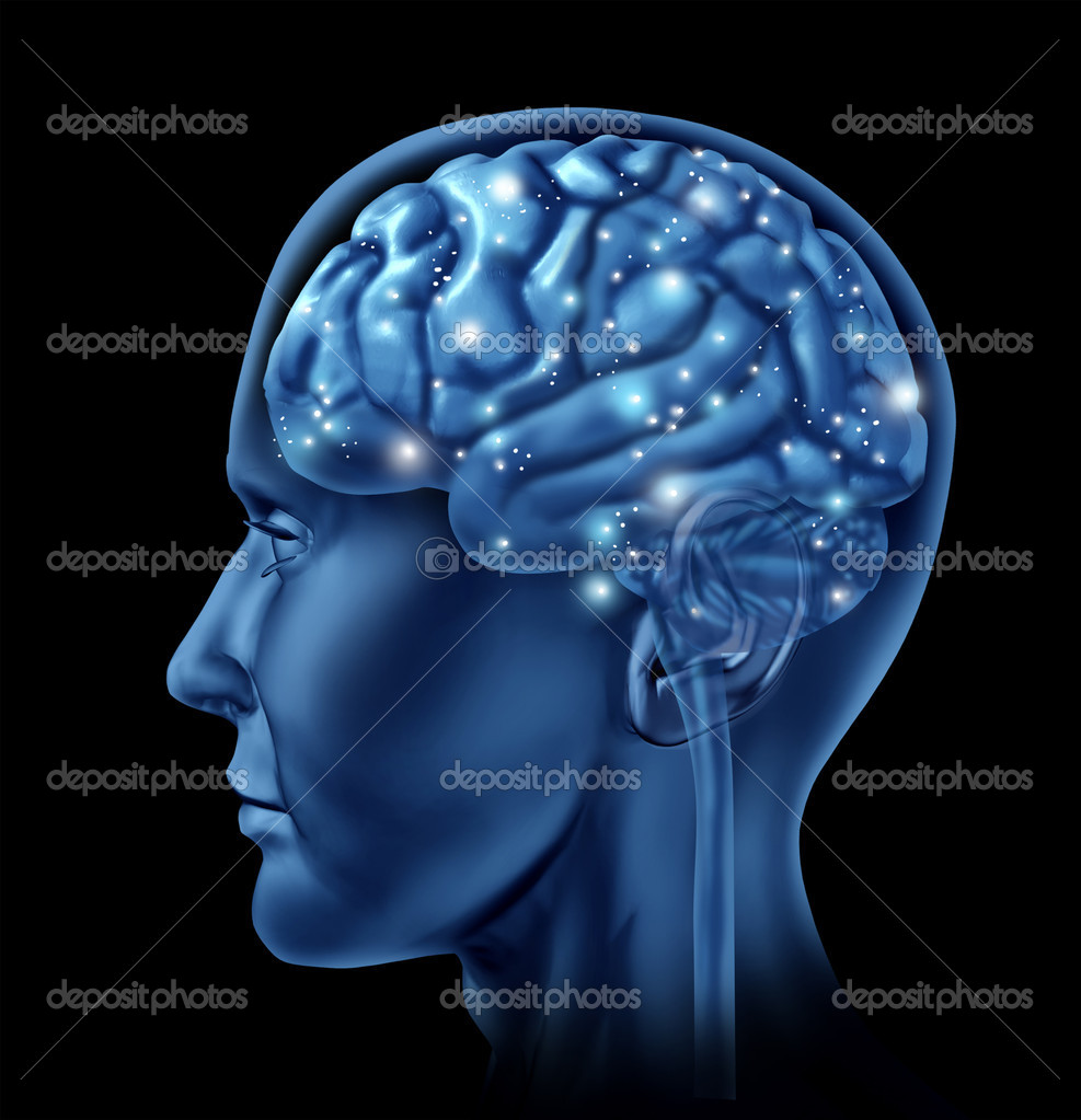 menschliche Gehirn auf schwarzem Hintergrund — Stockfoto ...
