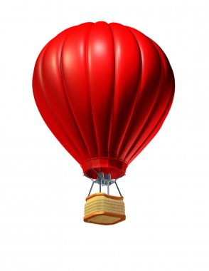 Hot air balloon rising up as a symbol of adventure and freedom on an isolated white background with a red air vehicle to promote tourism and travel. stock vector