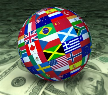 World Economy sphere flags