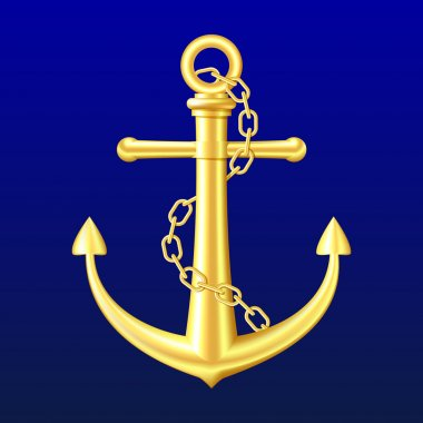 Gold Anchor on blue background