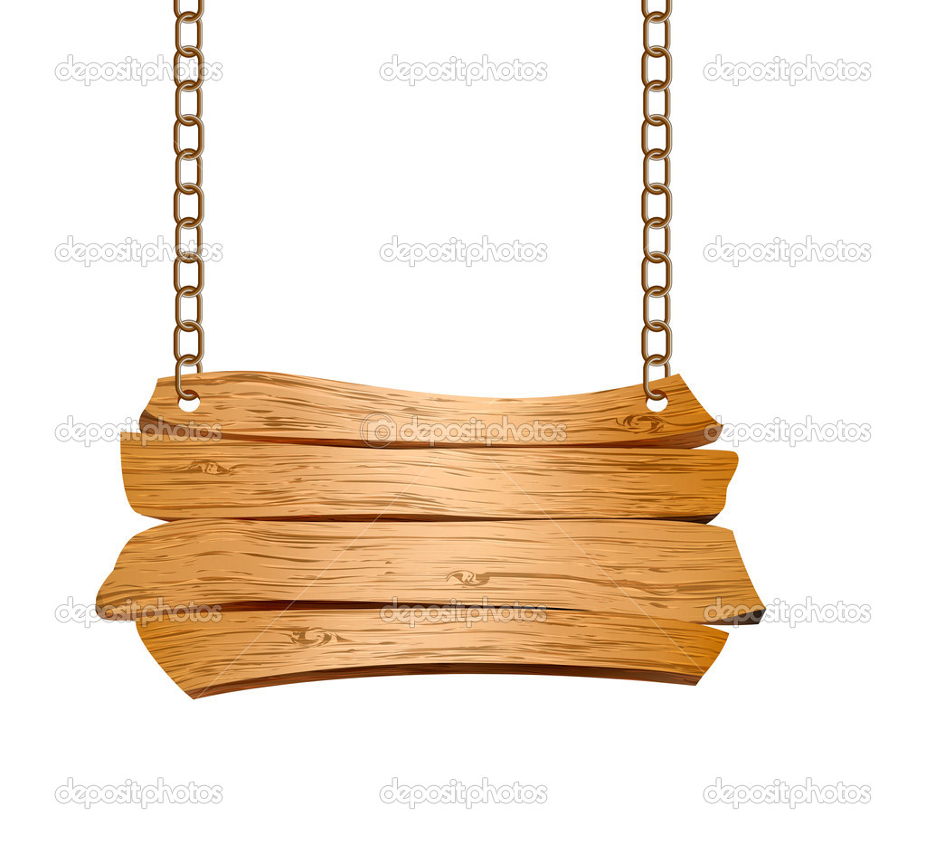 Wooden sign suspended on chains