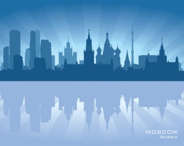 Moscow, Russia skyline illustration with reflection in water stock vector