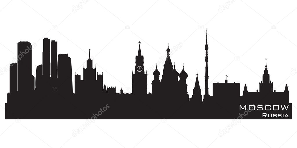 Moscow, Russia skyline. Detailed vector silhouette