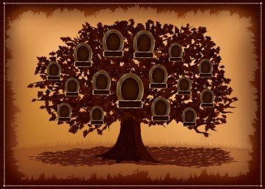 Vector family tree with frames and leafs.