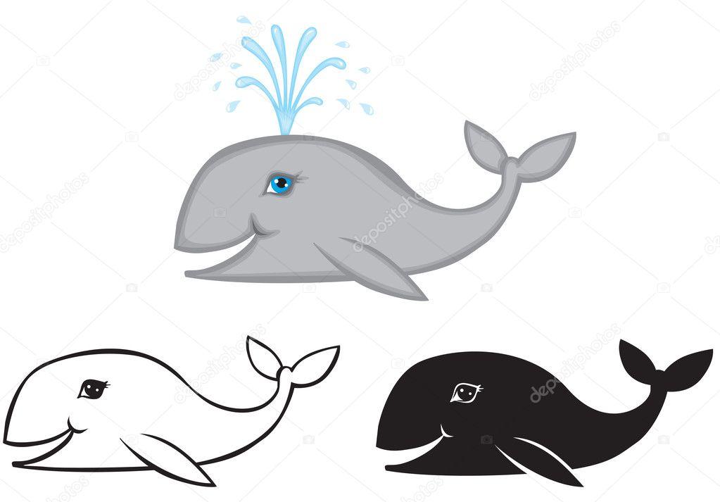 conjunto de imágenes de ballena — Archivo Imágenes Vectoriales ...