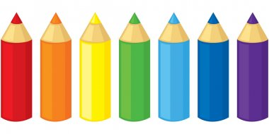 Set of colored pencils of seven colors stock vector
