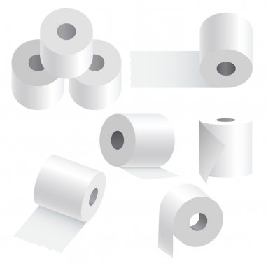 Toilet paper set on white background.