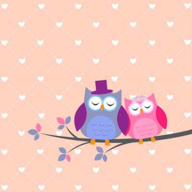 Couple owls in love.Vector wedding card clip art vector