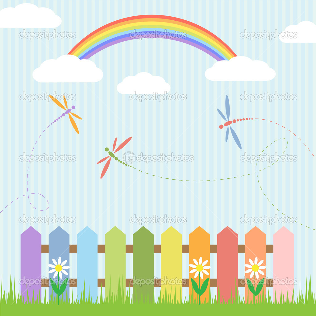 Colorful dragonflies with rainbow