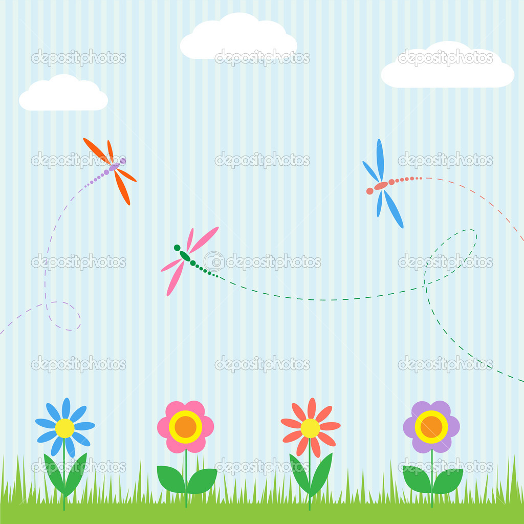 Colorful dragonflies and flowers