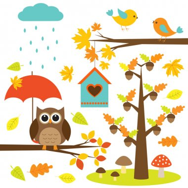 Birds,trees and owl. Autumnal set of vector elements
