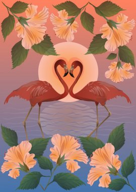 Romantic red flamingos and the moon