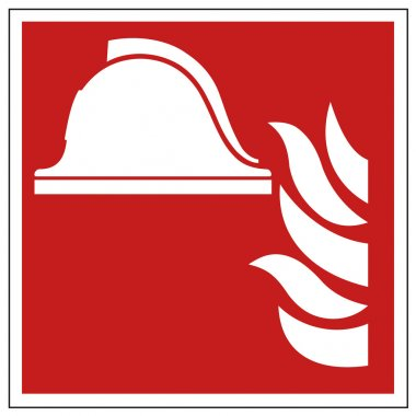 Fire safety sign helmet warning sign