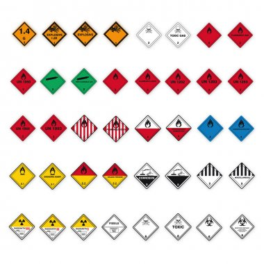 Hazardous substances signs icon flammable skull radioactive set