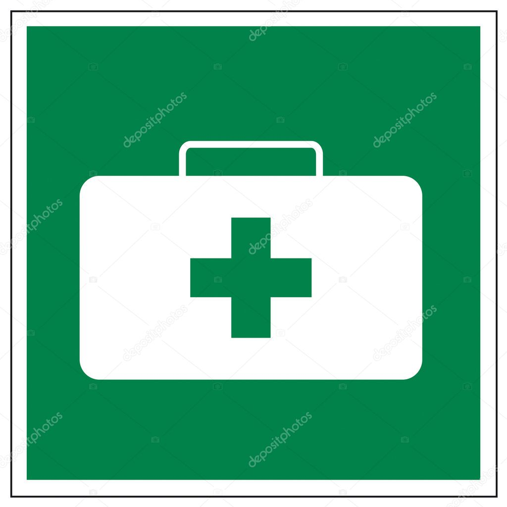 Rescue signs icon exit emergency first aid kit — Stock