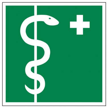 Rescue signs icon exit emergency first aid kit cross snake asklepios rod