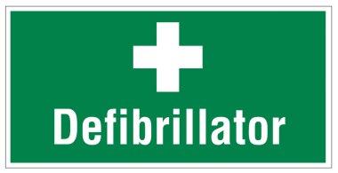 Rescue signs icon exit emergency defibrillator heart cross