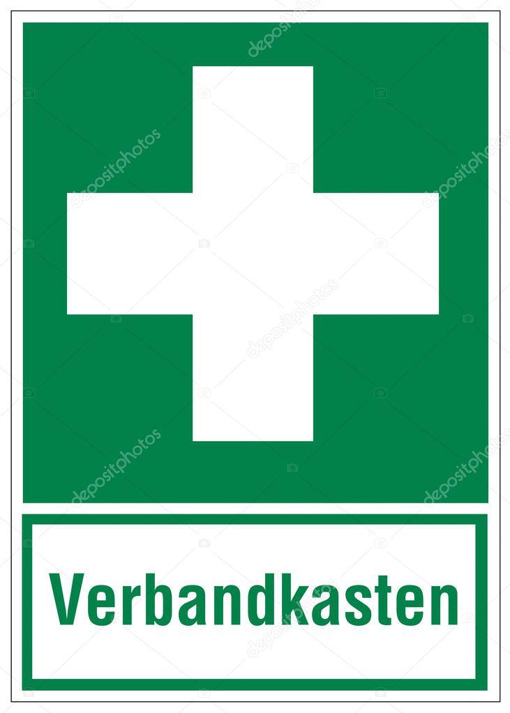 Erste hilfe symbol  Zeichen Symbol Ausfahrt Notfall erste-Hilfe-Kasten — Stockvektor ...